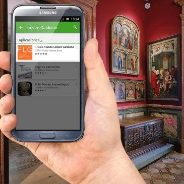 Imagen de un móvil con la aplicación GVAM en el Museo Lázaro Galdiano